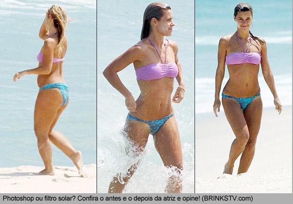 Carolina Dieckmann é flagrada usando Photoshop na praia